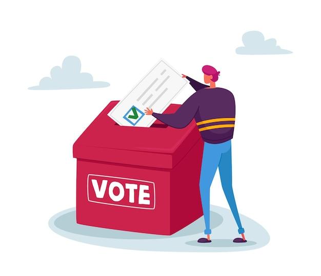 Mężczyzna włożył ogromną papierową kartę do głosowania z zielonym ptaszkiem w polu