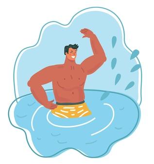 Mężczyzna wpadający do wody z pluskiem
