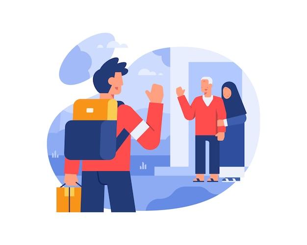 Mężczyzna wraca do domu rodziców po długim wyjeździe ilustracja
