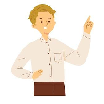 Mężczyzna wskazując palcem na puste na białym tle