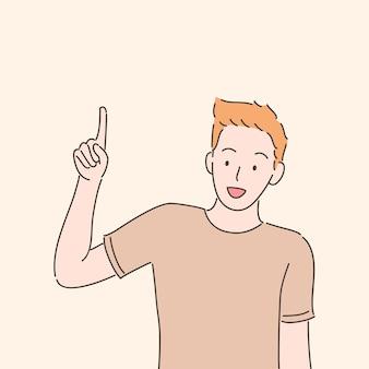 Mężczyzna wskazując palcem w górę. ilustracja w stylu wyciągnąć rękę