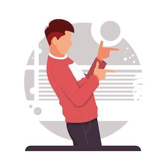 Mężczyzna wskazujący dwoma palcami dalej bezpłatna reklama produktu w płaskiej konstrukcji