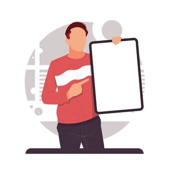 Mężczyzna wskazujący palcem na swoją tablicę reklamuje produkt w płaskiej konstrukcji