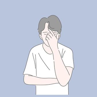 Mężczyzna wskazujący z trzymając rękę w twarz. zestresowany, przygnębiony, nieszczęśliwy, myślący koncepcja.