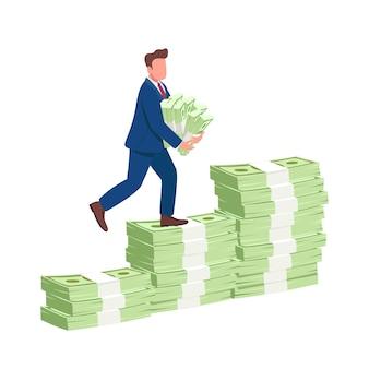 Mężczyzna wspinaczka pieniądze po schodach płaska ilustracja koncepcja