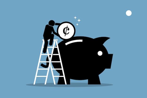 Mężczyzna wspinający się po drabinie i wkładający pieniądze do dużej skarbonki. grafika przedstawia oszczędzanie pieniędzy, inwestycje i zarządzanie majątkiem.
