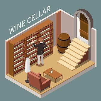Mężczyzna wybiera butelkę wina w piwnicy izometrycznej ilustracji