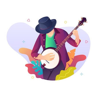 Mężczyzna wybiera gitarę, ilustracyjny pojęcie