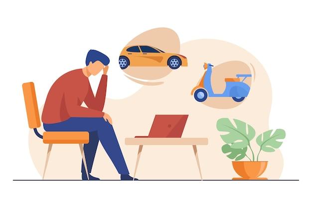 Mężczyzna wybiera transport miejski. samochód, skuter, taksówka, przy użyciu płaskiej ilustracji laptopa