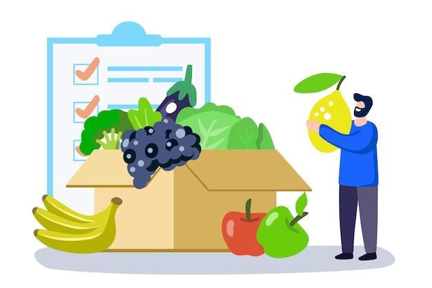 Mężczyzna wybierający zdrową listę żywności koncepcja ilustracji wektorowych pełny koszyk i płaska malutka osoba