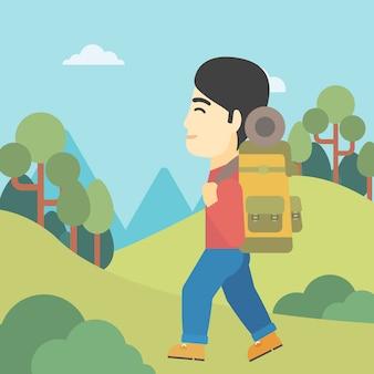 Mężczyzna wycieczkuje wektorową ilustrację z plecakiem.