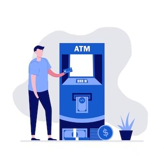 Mężczyzna wycofuje pieniądze z bankomatu. nowoczesna ilustracja w stylu płaski.