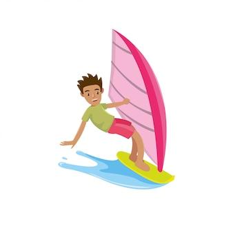 Mężczyzna wygląda szczęśliwy w desce surfingowej, gdy sezon letni