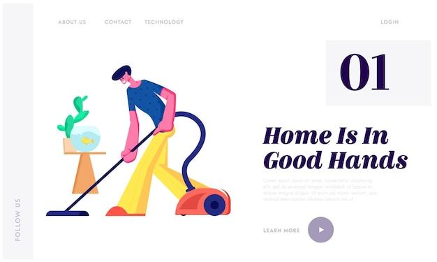 Mężczyzna wykonujący prace domowe, codzienne sprzątanie podłogi, rutynowe obowiązki, gospodarstwo domowe odkurzające dom odkurzaczem w salonie strona docelowa witryny sieci web, strona internetowa. ilustracja wektorowa płaski kreskówka