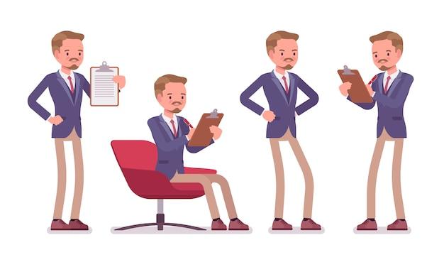 Mężczyzna wykwalifikowany sekretarz biura. inteligentny mężczyzna w kurtce i obcisłych spodniach, asystujący w zadaniu, zajęty pomaganiem, wykonuje prace administracyjne. biznesowa odzież robocza. ilustracja kreskówka styl