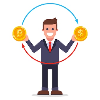 Mężczyzna wymienia bitcoiny na dolary. wymiana walut w postaci monet. ilustracja wektorowa płaskie.