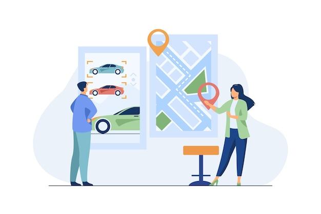 Mężczyzna wynajmujący samochód. aplikacja do udostępniania samochodów, mapa miasta ze wskazówkami. konsultant płaski wektor ilustracja. transport, transport miejski