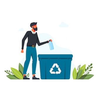 Mężczyzna wyrzuca plastikową butelkę do kosza, znak recyklingu śmieci koncepcja troski o środowisko i sortowanie śmieci. recyklingu, ilustracja wektorowa ekologicznego stylu życia. mężczyzna z koszem do recyklingu
