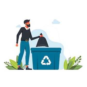 Mężczyzna wyrzuca worek na śmieci do kosza, znak recyklingu śmieci wolontariat, ekologia, koncepcja środowiska człowiek, człowiek wyrzuca śmieci na ilustracji bin.vector śmieci. koncepcja czystej planety