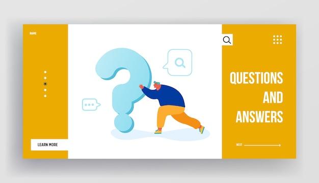Mężczyzna wyszukujący odpowiedź lub rozwiązanie strona docelowa witryny sieci web