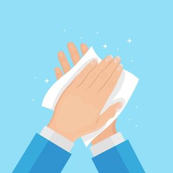 Mężczyzna wytrzeć, wysuszyć czyste ręce serwetkami, ręcznikiem papierowym. koncepcja higieny, dobrych nawyków. projekt kreskówki