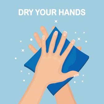 Mężczyzna wytrzeć, wysuszyć czyste ręce serwetkami, ręcznikiem papierowym. koncepcja higieny, dobrych nawyków.