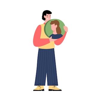Mężczyzna z awatarem swojego przyjaciela z mediów społecznościowych płaski wektor ilustracja na białym tle