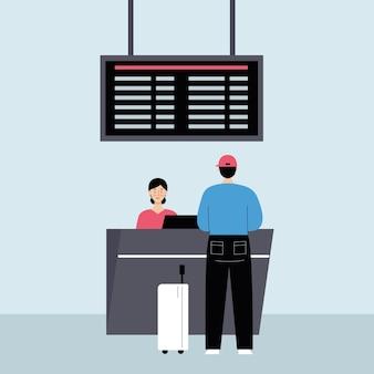 Mężczyzna z bagażem na lotnisku przy stanowisku odprawy. podróże, koncepcja wakacji. ilustracja wektorowa w płaski na białym tle.