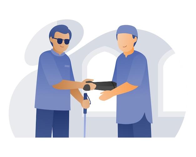 Mężczyzna z bioniczną dłonią uścisk dłoni niewidomemu