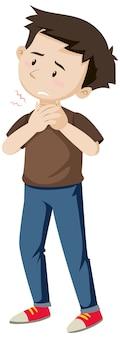 Mężczyzna z bólem gardła