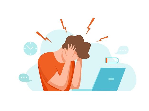 Mężczyzna z bólem głowy migrena trzyma głowę ilustracja kreskówka wektor zestresowany niezadowolony zdenerwowany t
