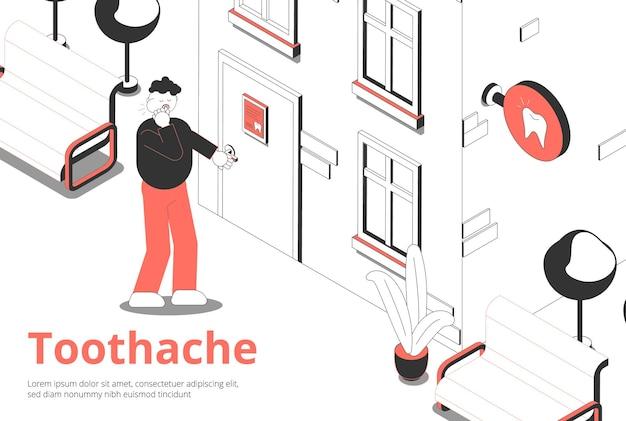 Mężczyzna z bólem zęba otwiera przednie drzwi gabinetu dentystycznego izometrycznej kompozycji z zewnętrzną tablicą