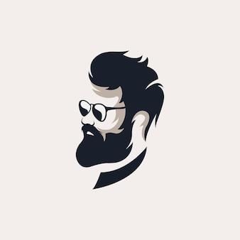 Mężczyzna z brodą vintage szablony logo fryzjera