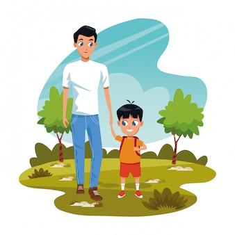 Mężczyzna z chłopiec w parku