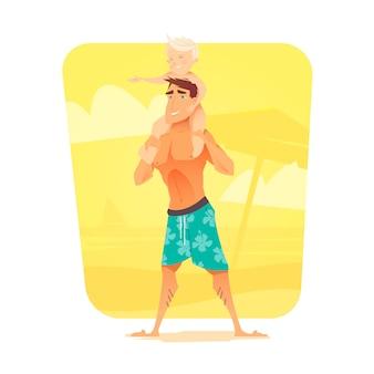 Mężczyzna z dzieckiem na plaży. letni wypoczynek. reszta morza. ojciec i jego syn. ilustracja.