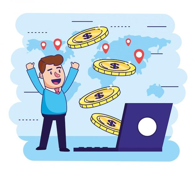 Mężczyzna z elektroniczną laptopem i monet transakcją