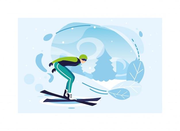 Mężczyzna z halną nartą w krajobrazie zima