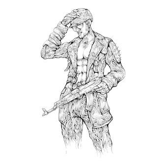 Mężczyzna z karabinem szturmowym i sterem w ręku rysunek styl cruly