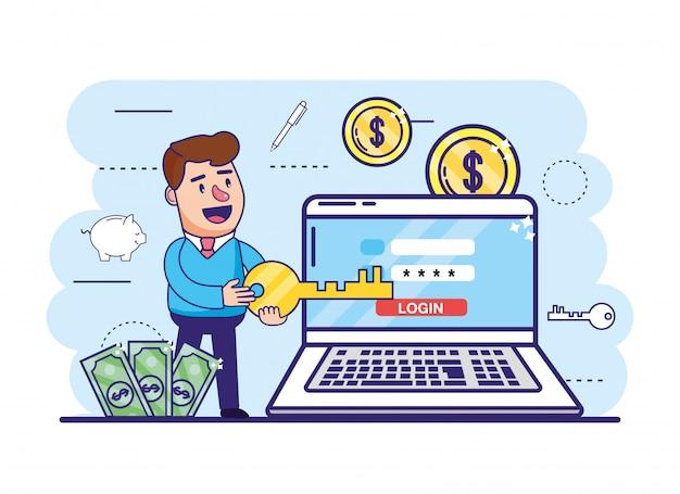 Mężczyzna z kluczem i laptopem z cyfrowym bankiem