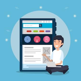 Mężczyzna z laptopem i pastylka strony internetowej biurową strategią