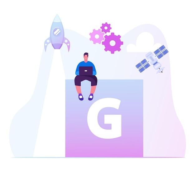 Mężczyzna z laptopem korzystający z internetu 5g w projektach startowych biznesowych. płaskie ilustracja kreskówka