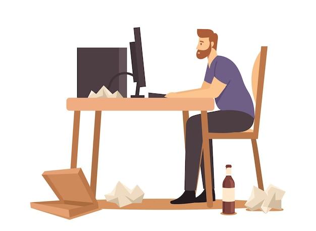 Mężczyzna z nadwagą siedzący przy biurku, pracujący na komputerze z paczką fast foodów, butelkami i papierowymi śmieciami dookoła