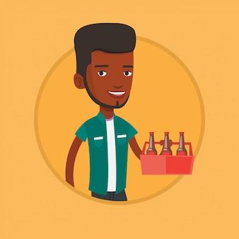 Mężczyzna z paczką piwna wektorowa ilustracja.