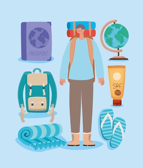 Mężczyzna z plecakiem i elementami podróży