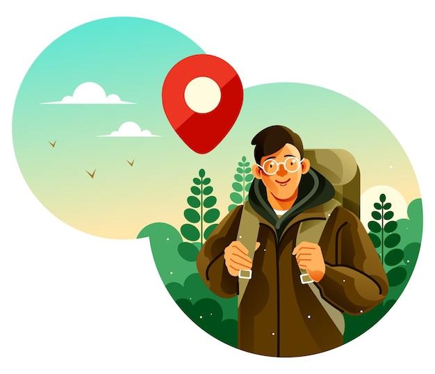 Mężczyzna z plecakiem kempingowym wybiera się na wycieczkę do lasu