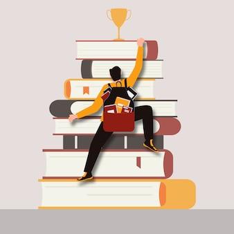 Mężczyzna z plecakiem pełnym książek wspina się na górę książek, aby zdobyć nagrodę