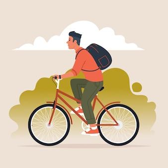 Mężczyzna z plecakiem za plecami jeździ na rowerze. aktywny styl życia. ilustracja wektorowa w stylu płaski