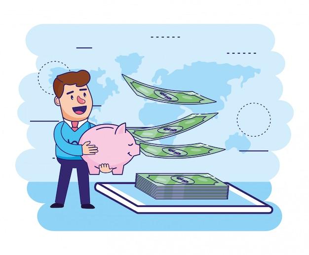 Mężczyzna z prosiątka i finanse rachunkami z smartphone