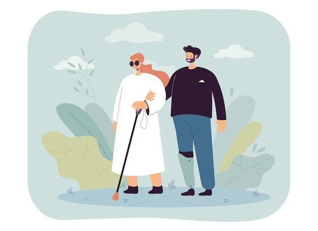 Mężczyzna z protezą nogi chodzący z niewidomą kobietą. płaska ilustracja