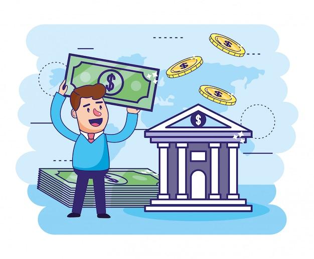 Mężczyzna z rachunkami i cyfrowym bankiem z monetami